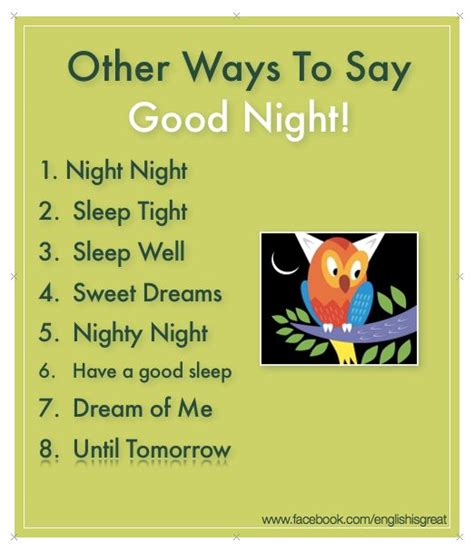 """Other Ways To Say 'good Night!""""  My English Pinterest"""