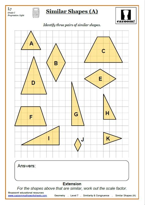 Congruence & Similarity Worksheet Pdf  Similar Shapes Worksheet Pdf