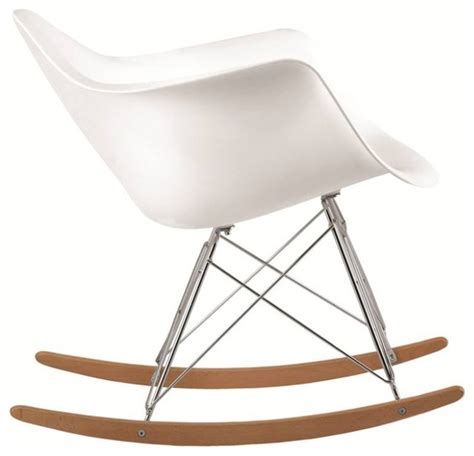 molded white plastic armchair rocker white midcentury