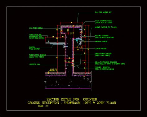 reception counter section details dwg section