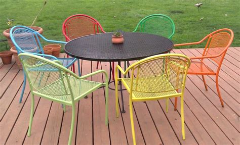 chaise de jardin couleur painting metal patio furniture with six chairs and