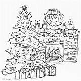 Coloring Christmas Pages Tree Fireplace Printable Sheets Holiday Printables Crazy sketch template
