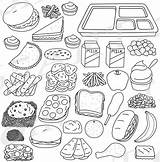 Lunch Tray Coloring Food Cafeteria Pages Template sketch template