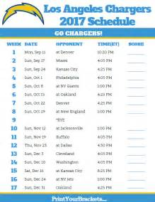 Printable Los Angeles Chargers Schedule 2017