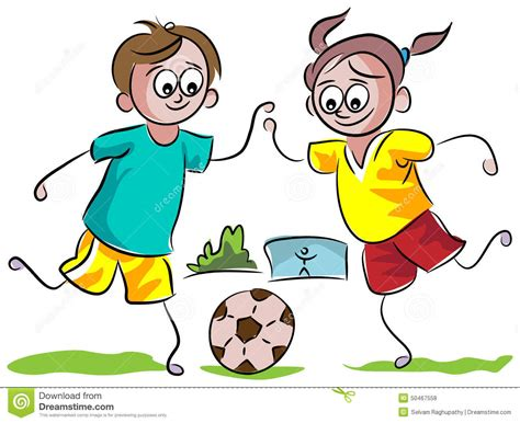 playing cartoon kids playing football stock vector illustration of