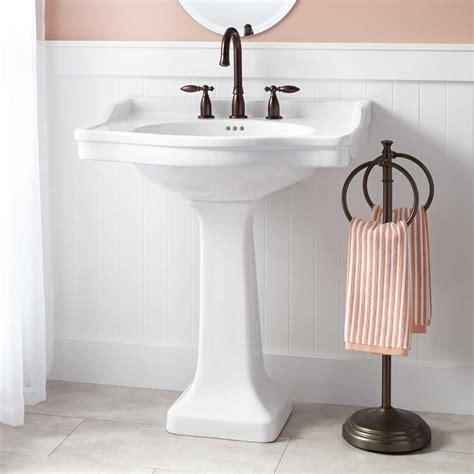farmhouse powder room cierra large porcelain pedestal sink pedestal sinks