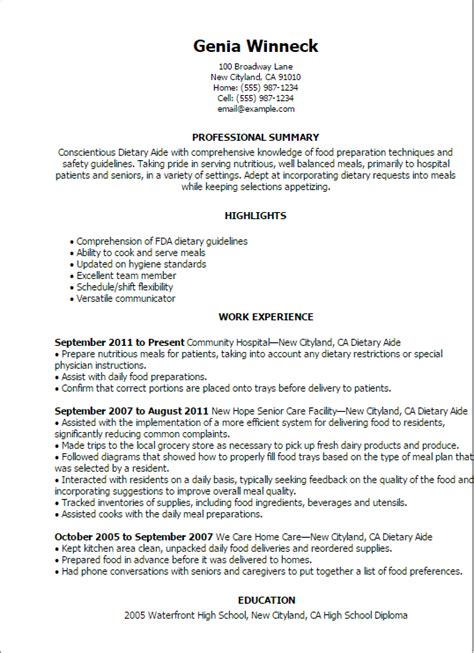 dietary aide job description  resume