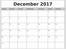 December 2017 Monthly Calendar Printable