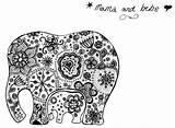 Mandala Bebe Mama Elephant Tattoo Doodle Blackwork Doodles sketch template