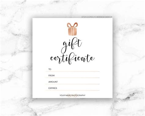 printable rose gold gift certificate template editable etsy