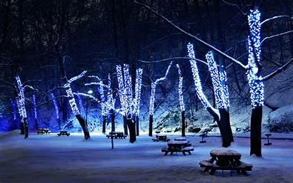 Winter Night Desktop Lights Christmas Wallpapers Pixelstalk