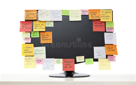post it bureau pc paper notes on computer monitor stock image image of letter horizontal 43427859