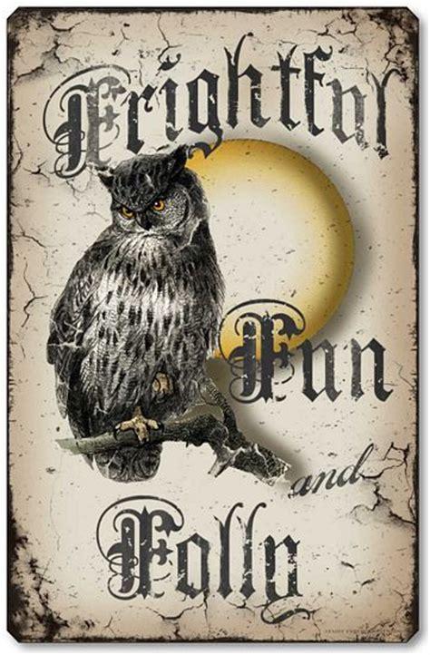 frightful fun folly owl halloween wall plaque fairy