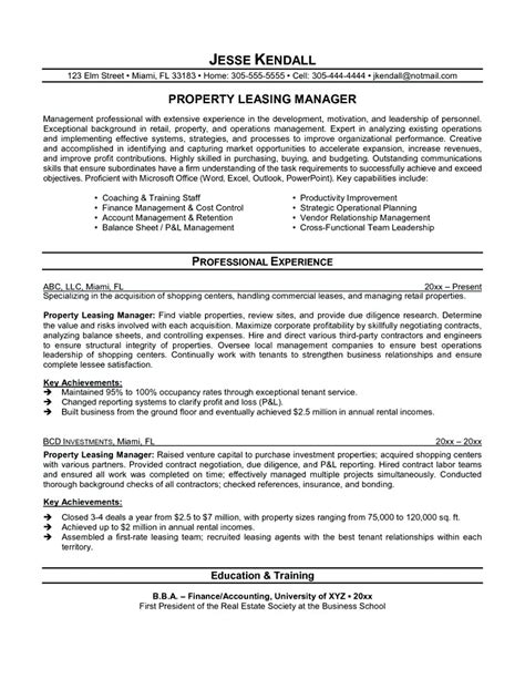 Leasing Resume Templates by Leasing Manager Resume