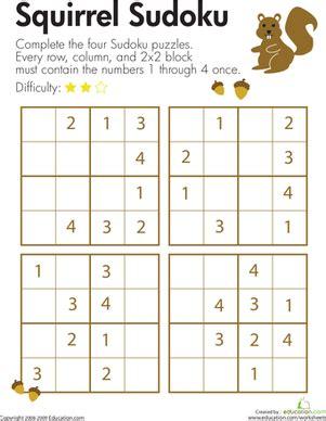 squirrel sudoku worksheet education