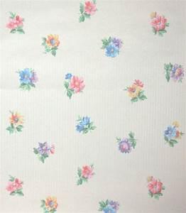 1930's Vintage Wallpaper Pastel Floral, Pink Yellow Blue ...
