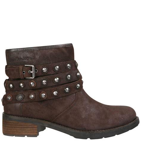 womens brown biker boots ck jeans women 39 s helga studded biker ankle boots dark
