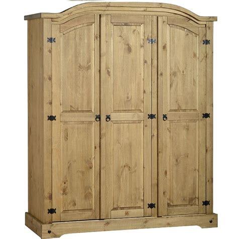 Mexican Pine 3 Door Wardrobe corona solid mexican pine 3 door wardrobe arch top