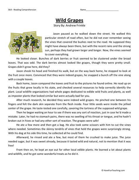 Reading Comprehension Worksheet  Wild Grapes
