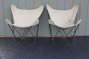 pair of iron butterfly chairs folding vintage outdoor sling