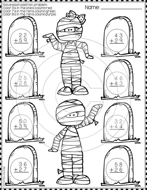 halloween  digit addition  regrouping color  code