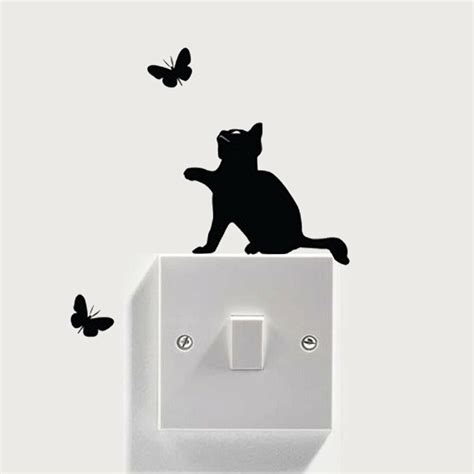 removable cat light switch stickers home wall quote vinyl mural decor decals ebay
