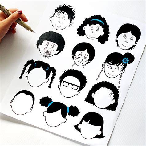 theme pour chambre dessin de têtes pour enfant