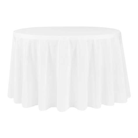 "Economy Polyester Tablecloth 132"" Round White CV Linens"