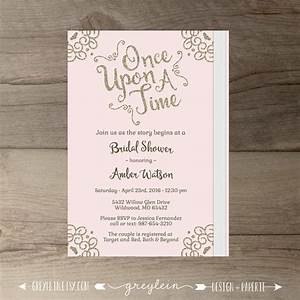 once upon a time bridal shower invitations o pink blush With disney font wedding invitations