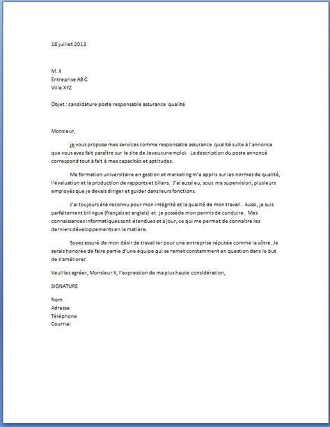 emploi formateur cuisine lettre de motivation responsable assurance qualité