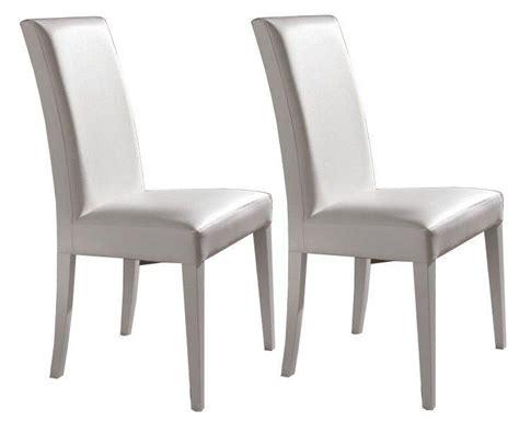 chaise blanche simili cuir lot de 2 chaises design italienne vertigo en tissu