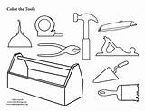 Coloring Tool Pages Box Tools Colouring Toolbox Construction Template Clipart Pdf Preschool Carpenter Belt Kid Gears Printing Worksheets Graphics Library sketch template