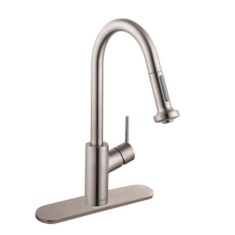 hansgrohe talis s kitchen faucet hansgrohe talis s single handle pull down sprayer kitchen faucet in steel optik 04310805 the