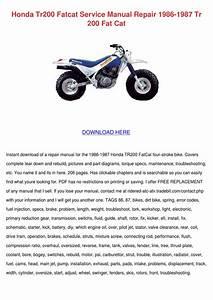 Honda Tr200 Fatcat Service Manual Repair 1986 By