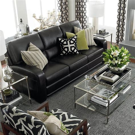 Black Settee by Black Leather Sofas On Reclining Sofa Modern