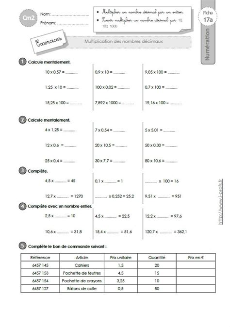 exercices tables de multiplication cm2 a imprimer cm2 exercices la multiplication decimale