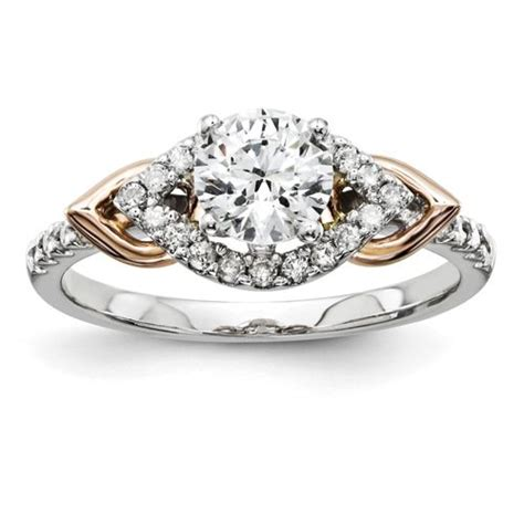 14k two tone semi diamond engagement ring royalty