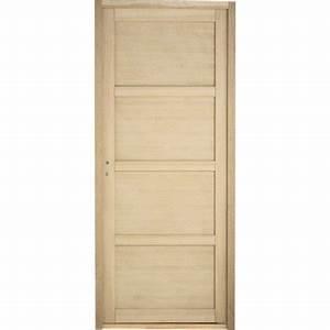 bloc porte paris pleine poussant droit 4 panneaux bois With porte de garage et porte bloc bois