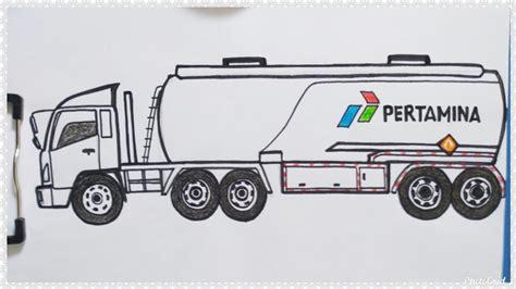 cara mudah menggambar mobil truk tangki pertamina besar