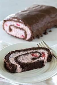 Cherry Chocolate Chip Ice Cream Cake Roll - Barbara Bakes™