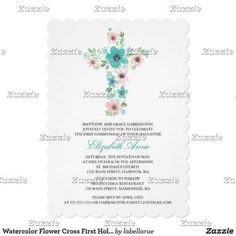 Teal Watercolor Flower Cross First Holy Communion