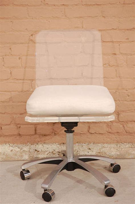 acrylic desk chair with cushion lucite swivel base desk chair with white cushion at 1stdibs