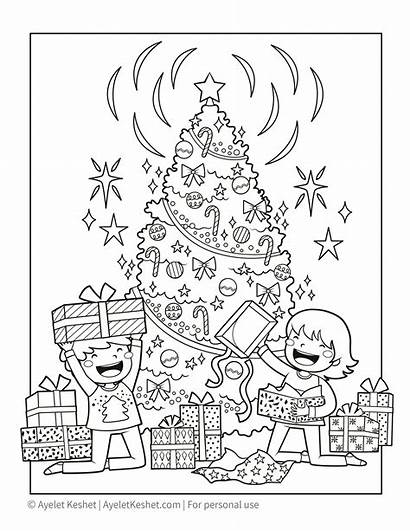 Coloring Christmas Pages Printable Presents Printables Ayeletkeshet