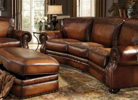 rustic leather living room furniture design ideas