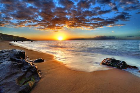 Morze, Plaża, Lato, Zachód Słońca, Chmury