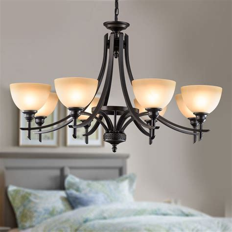 chandelier l shades canada 8 light black wrought iron chandelier with glass shades