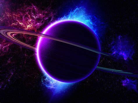 universe nebula planet ring light purple blue color