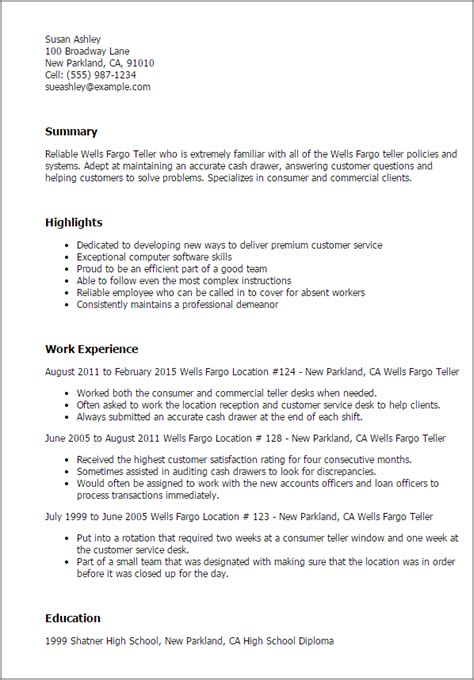 Fargo Service Manager Resume by Professional Fargo Teller Templates To Showcase Your Talent Myperfectresume