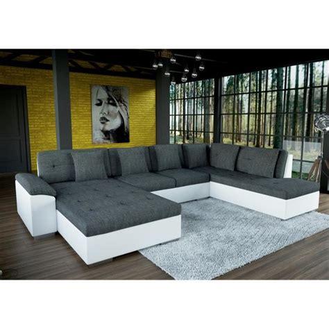 grand canapé d 39 angle en u smile gris et blanc achat