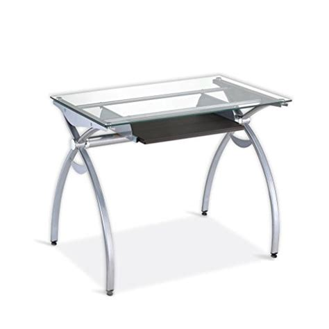 glass top computer desk contempo clear glass top computer desk with pull out